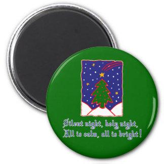 Silent Night Christmas Carol T-shirts, Apparel 2 Inch Round Magnet
