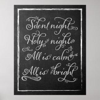 Silent Night Christmas Chalkboard Art Print
