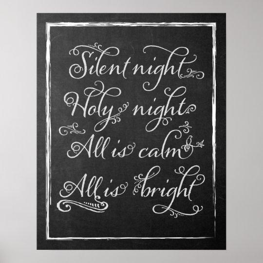Christmas Chalkboard Art.Silent Night Christmas Chalkboard Art Poster