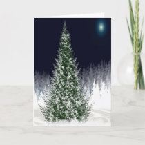 Silent Night Christmas Eve Forest Snowcovered Holiday Card