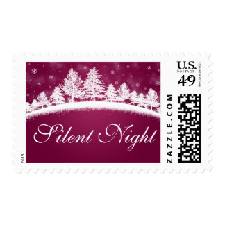 Silent Night Christmas Hot Pink White Postage