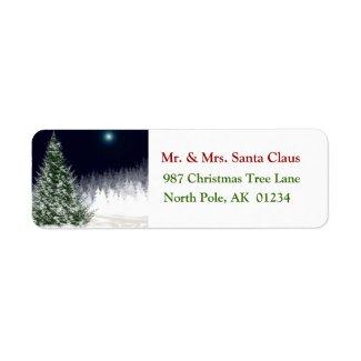 Silent Night Christmas Tree Return Address Label label