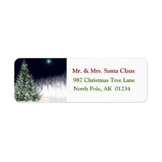 Silent Night Christmas Tree Return Address Label