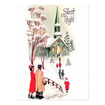 Silent night, church at Christmas, vintage holiday Postcard