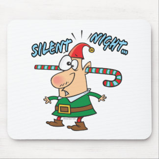 silent night elf ear candy cane stuffed humor mouse pad