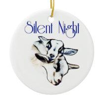 Silent Night Goat Christmas Ornament