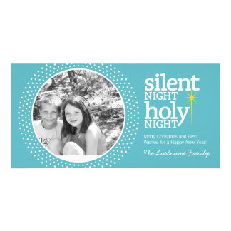 Silent Night, Holy Night Christian Christmas Photo Card Template