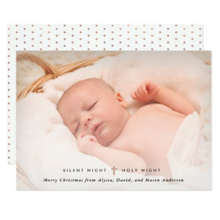 Silent Night, Holy Night | Cross And Photo Card at Zazzle