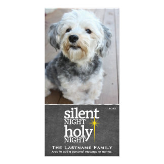 Silent Night, Holy Night Holiday Chalkboard Customized Photo Card