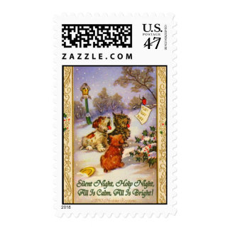 SILENT NIGHT HOLY NIGHT MERRY CHRISTMAS DOGS POSTAGE STAMP