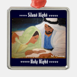 Silent Night, Holy Night Metal Ornament