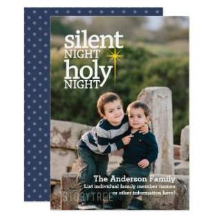Silent Night Holy Night Photo Christmas Card at Zazzle