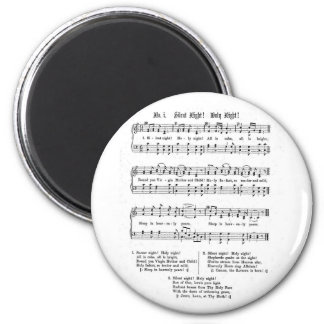 SILENT NIGHT HOLY NIGHT SHEET MUSIC CHRISTMAS SONG 2 INCH ROUND MAGNET