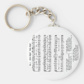 SILENT NIGHT HOLY NIGHT SHEET MUSIC CHRISTMAS SONG BASIC ROUND BUTTON KEYCHAIN