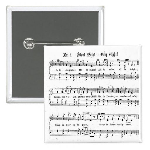 SILENT NIGHT HOLY NIGHT SHEET MUSIC CHRISTMAS SONG 2 INCH SQUARE BUTTON