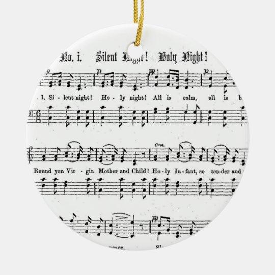 SILENT NIGHT HOLY NIGHT SHEET MUSIC CHRISTMAS SONG CERAMIC ORNAMENT | Zazzle.com