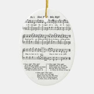 SILENT NIGHT HOLY NIGHT SHEET MUSIC CHRISTMAS SONG CERAMIC ORNAMENT