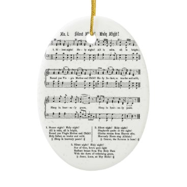 Christmas Themed SILENT NIGHT HOLY NIGHT SHEET MUSIC CHRISTMAS SONG CERAMIC ORNAMENT