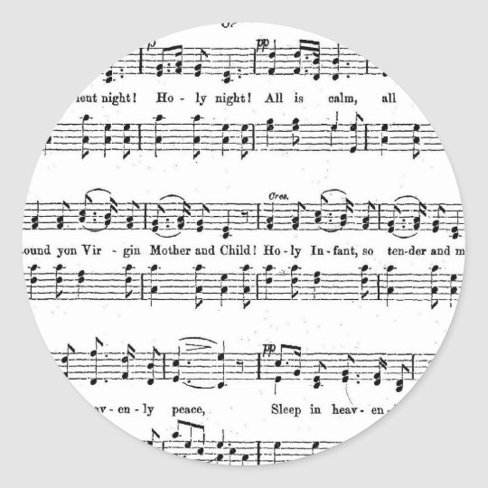 SILENT NIGHT HOLY NIGHT SHEET MUSIC CHRISTMAS SONG CLASSIC ROUND STICKER | Zazzle.com