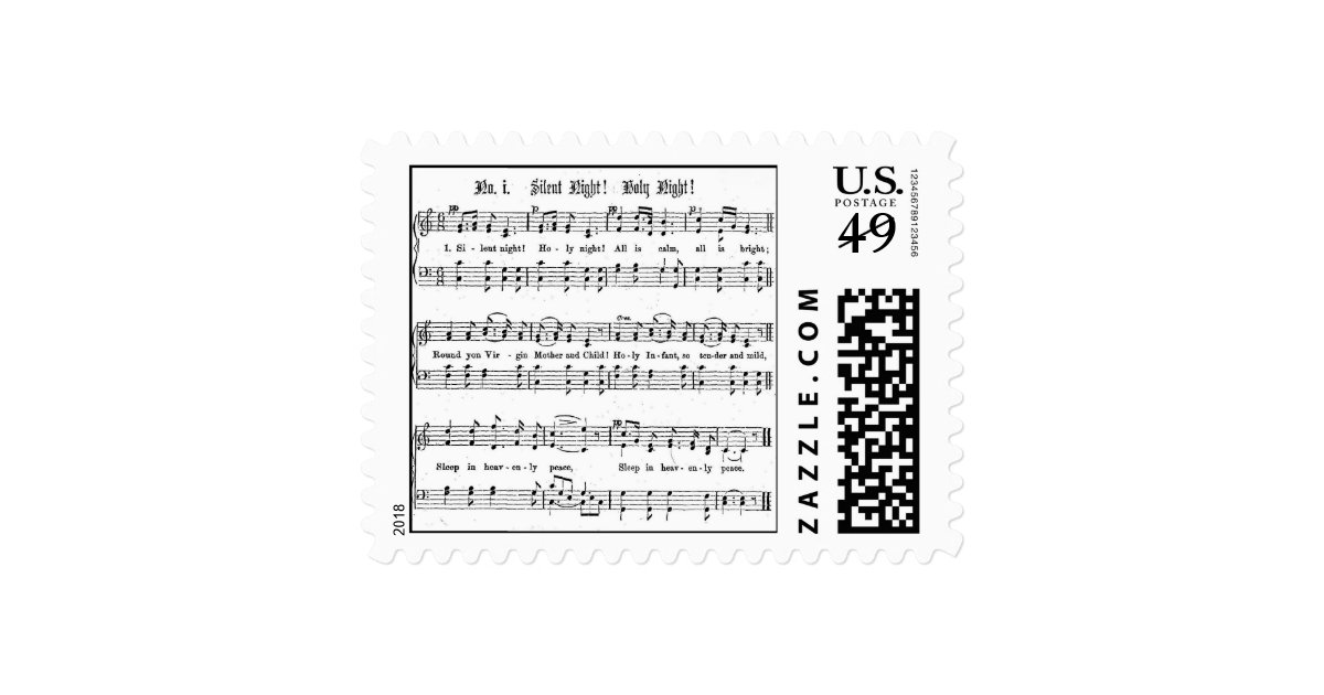 SILENT NIGHT HOLY NIGHT SHEET MUSIC CHRISTMAS SONG POSTAGE | Zazzle