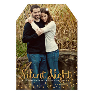 Silent Night Merry Christmas Gold Tone Photo Card
