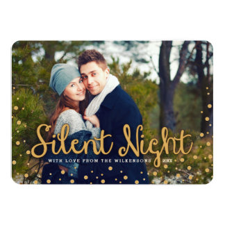 "Silent Night Merry Christmas Gold Tone Photo Card 5"" X 7"" Invitation Card"