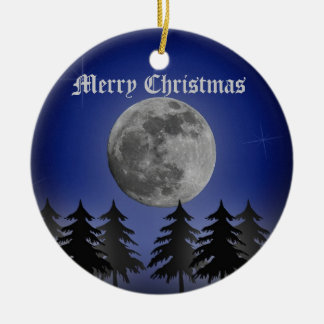 SILENT NIGHT Double-Sided CERAMIC ROUND CHRISTMAS ORNAMENT