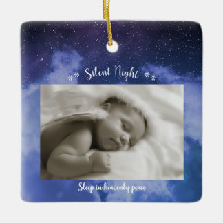 Silent Night Photo - Square Ornament