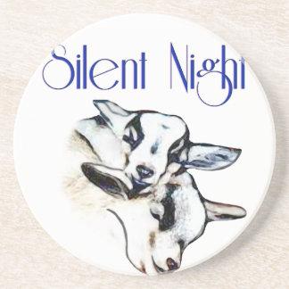 Silent Night Pygmy Goat Sandstone Coaster