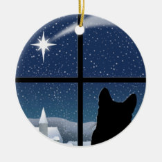 Silent Night Round Christmas Ornament at Zazzle