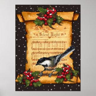 Silent Night Sheet Music, Chickadee, Snow: Art Print