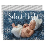 Silent Night Silver Snowflakes Holiday Baby Birth Invitation