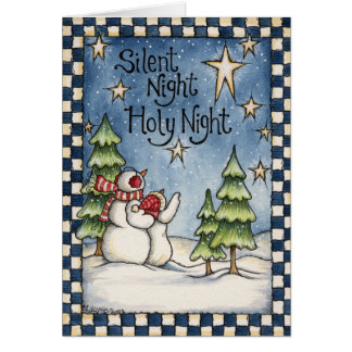 Silent Night Snowmen Christmas Holiday Card
