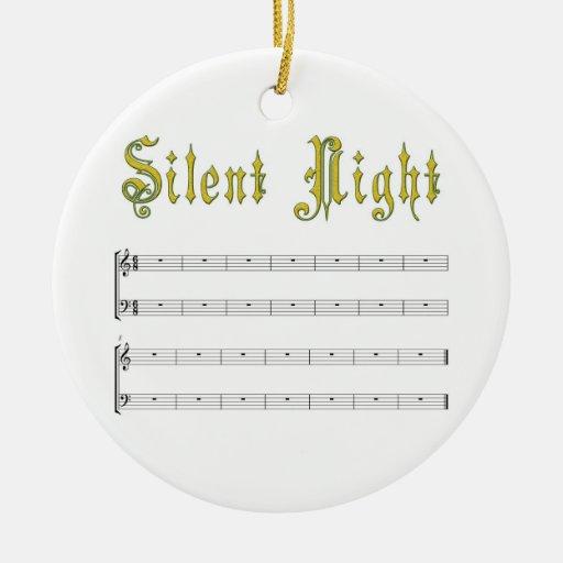 Silent night white ornament
