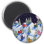 Silent Night Winter Folk Art Magnets