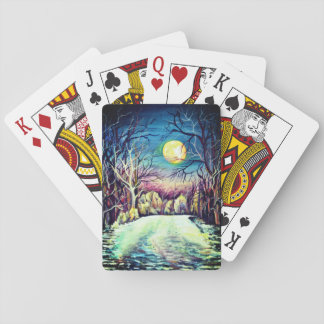 Silent Night Winter Full Moon Playing Cards