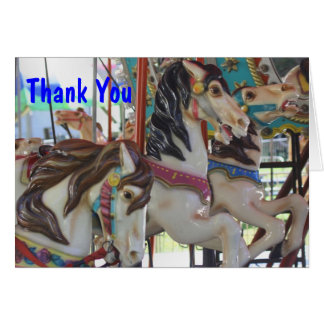 Silent Prancers Carousel Horse Thank You Card