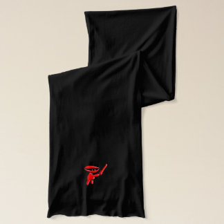 Silent red ninja assassin, armed and dangerous scarf