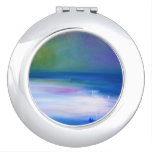 Silent Seas Blue and Green Abstract Compact Mirror