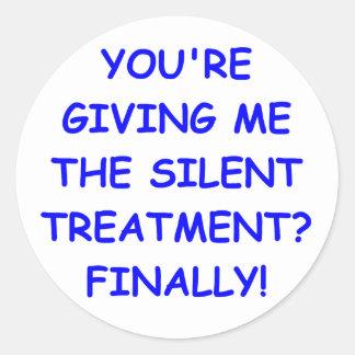 silent treatment classic round sticker
