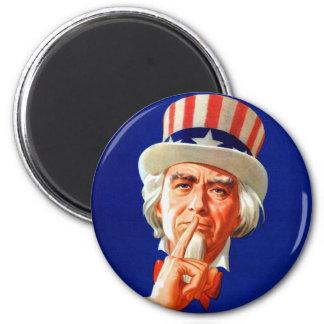 Silent Uncle Sam Vintage Kitsch Illustration Magnets