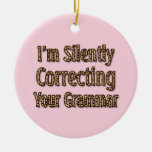 Silently Correcting Your Grammar Double-Sided Ceramic Round Christmas Ornament
