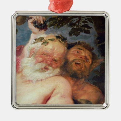Silenus borracho apoyado por los sátiros, c.1620 adorno navideño cuadrado de metal