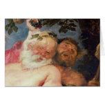 Silenus borracho apoyado por los sátiros, c.1620 tarjeta