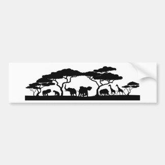 Silhouette African Safari Animal Landscape Scene Bumper Sticker