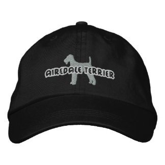 Silhouette Airedale Terrier Embroidered Baseball Cap