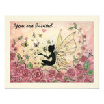 "Silhouette and Roses 4.25"" X 5.5"" Invitation Card"