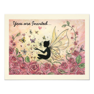 """Silhouette and Roses 4.25"""" X 5.5"""" Invitation Card"""