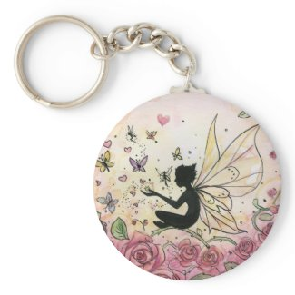 Silhouette and Roses keychain