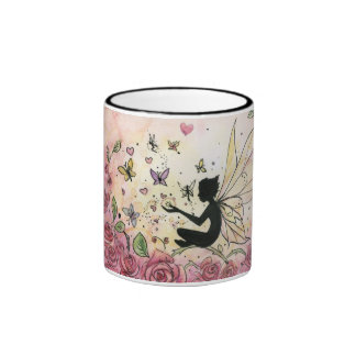 Silhouette and Roses Ringer Coffee Mug
